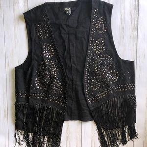 Black Brand Linen Studded Fringe Vest Boho Large